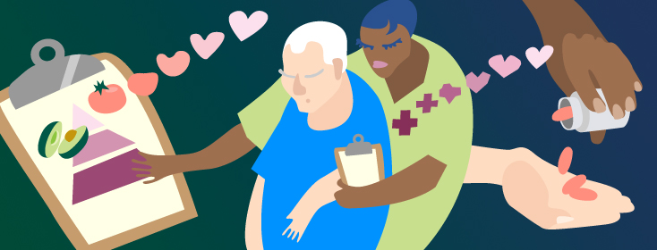 a nurse assisting a patient