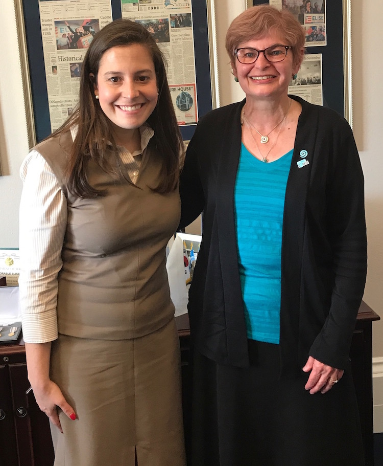 Lung cancer advocate Anita Figueras with Congressional Representative Elise Stefanik