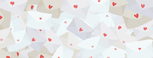 A pile of letters with hearts
