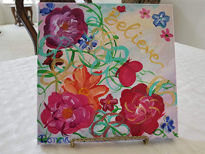 Painting by Donna of flowers and hope