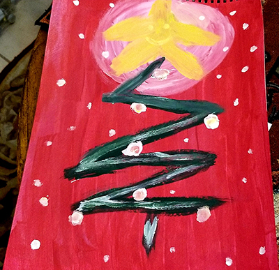 Painting by Donna of a Christmas tree