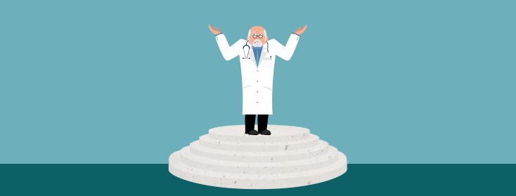 a doctor shrugging in confusion while standing on a pedestal