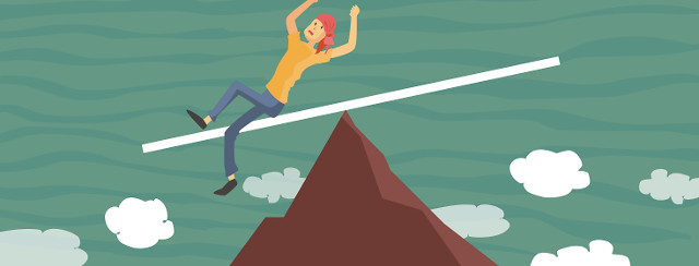 woman at top of mountain slipping and starting to fall down the mountain face