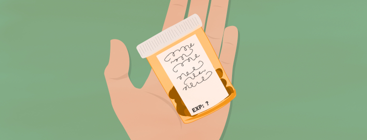 hand holding prescription bottle with pills, no expiration date