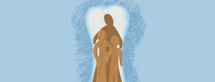 woman standing in a heart embracing two children