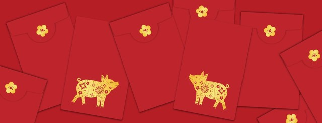 Chinese New Year of the Pig on red envelopes