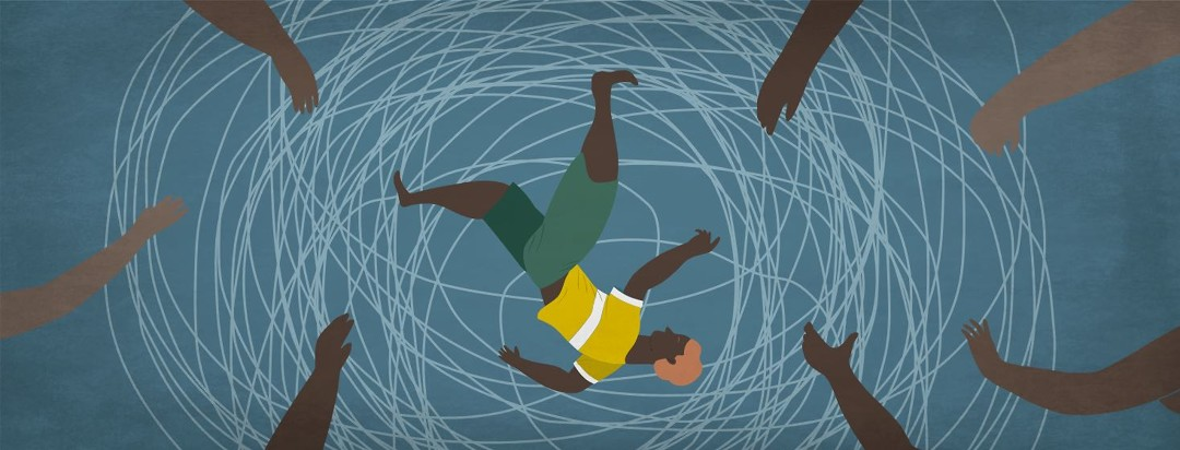 A person falling into a spiral and family members reaching out to try and help.