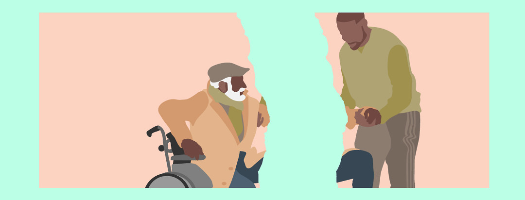 Two people portrayed on an image torn in half. A man in a wheelchair on the left and a man holding his hand to help him up on the right.