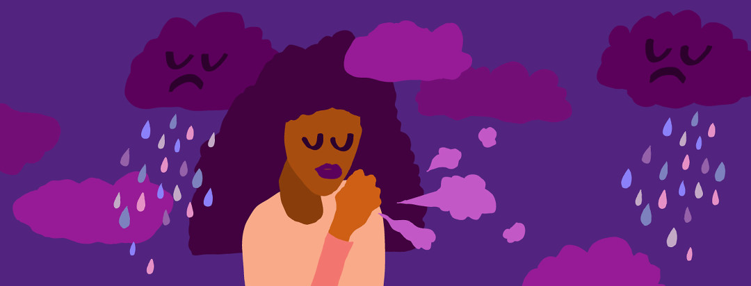 A woman with her eyes closed surrounded by little clouds of cough puffs.