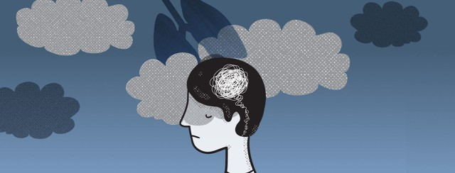 A sad person with clouds over their head. One is shaped like a set of lungs.