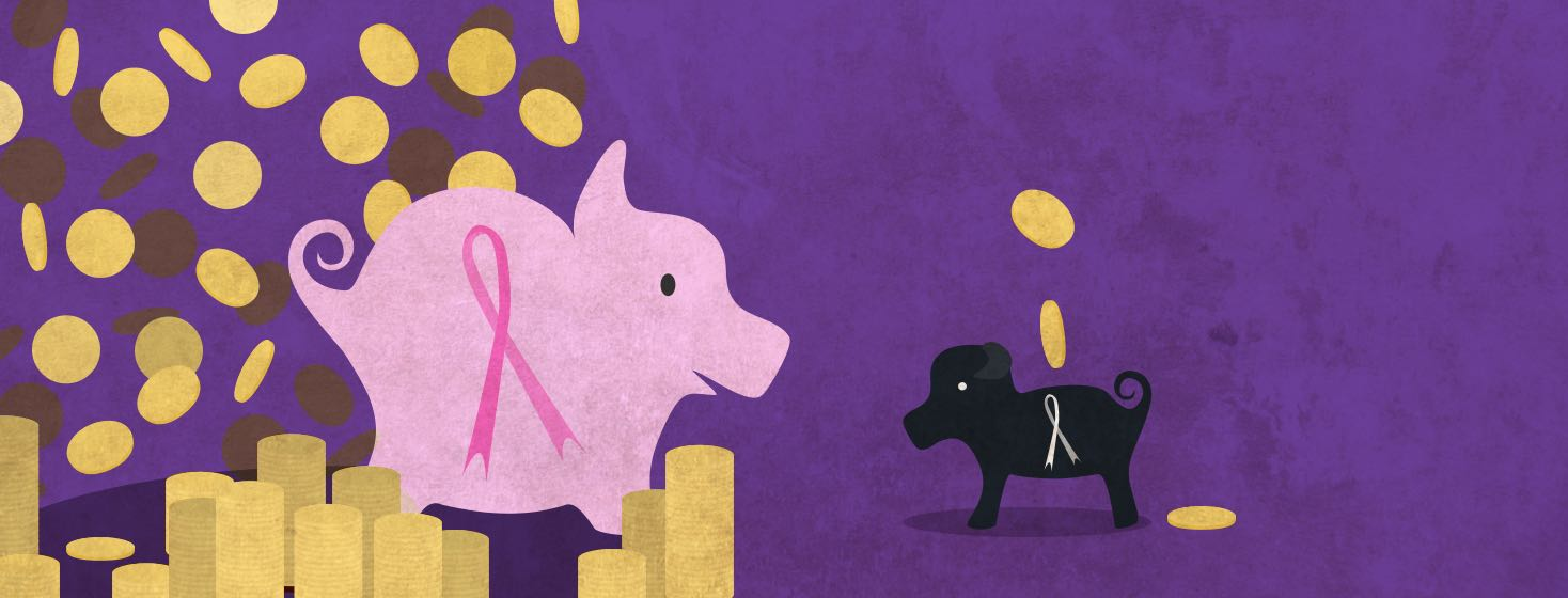 A large piggy bank with a pink ribbon is full of coins while a little pig with a white ribbon has few coins.