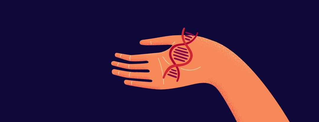 A hand holding up a DNA strand