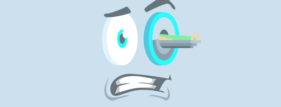 A nervous cartoon face with the scanner moving into its eye.