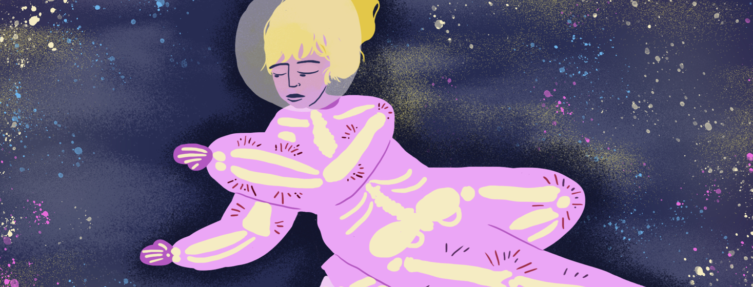 Female astronaut is floating in the sky among purple, yellow, and blue stars and clouds. Her body is pink, and her bones are highlighted light yellow with pangs of pain surrounding the bones.