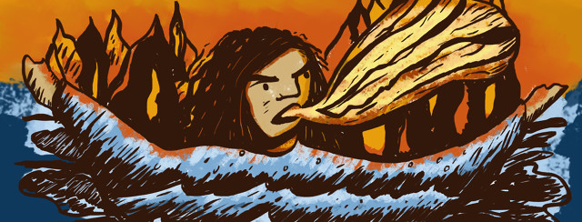 Person yells with arms outstretched. A blue ocean makes up her body and orange fire is behind her.