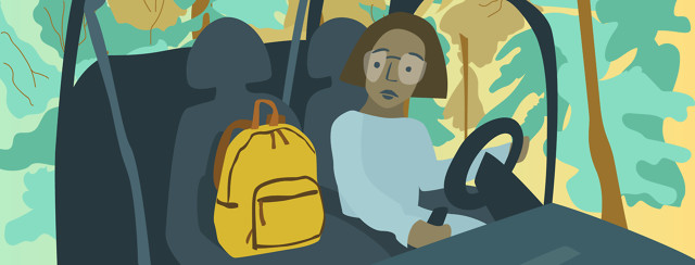 Woman sits in car with a yellow backpack in the front seat next to her. Green and yellow trees surround the car.