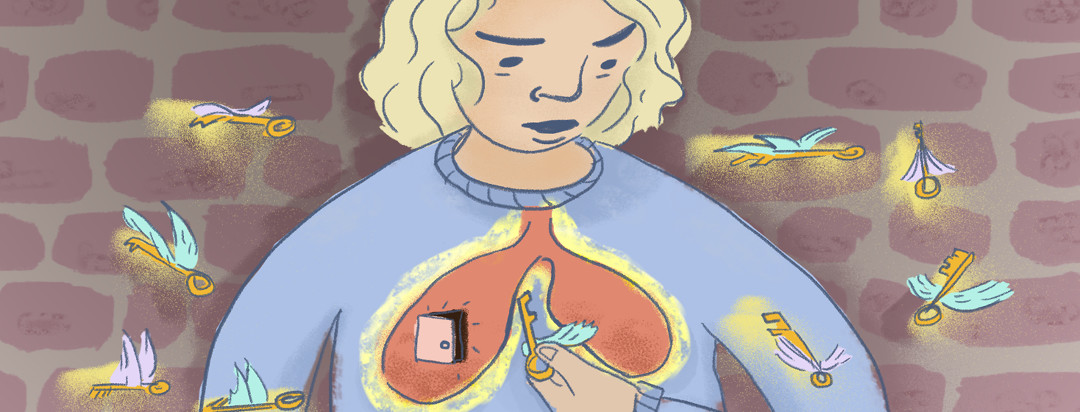 Woman holds a key in her hand, thinking about unlocking a door in her lungs. Flying keys surround her in front of a brick wall.