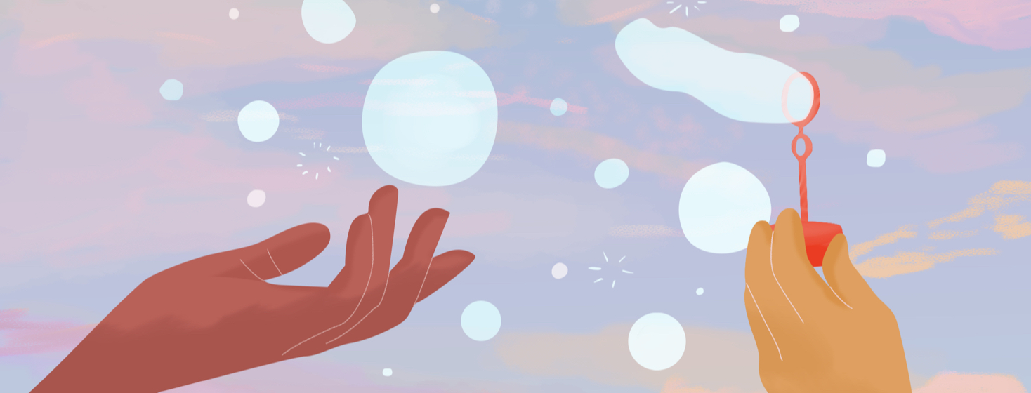 Person reaches for bubbles floating behind a pink, blue, and yellow sky