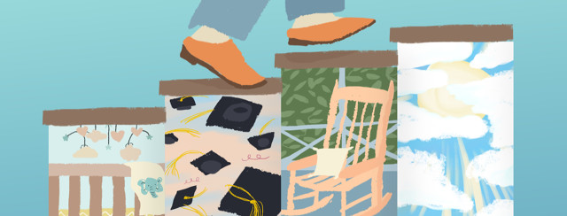 Person's feet are going up a staircase of life milestones, including a baby's crib, graduation hats in the air, a rocking chair on a porch, and a sun shining between clouds to reflect uncertainty about the future.