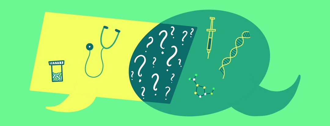 Two speech bubbles containing a syringe, stethoscope, DNA, molecules, and pills