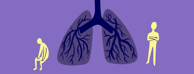 A pair of lungs stands in between two people