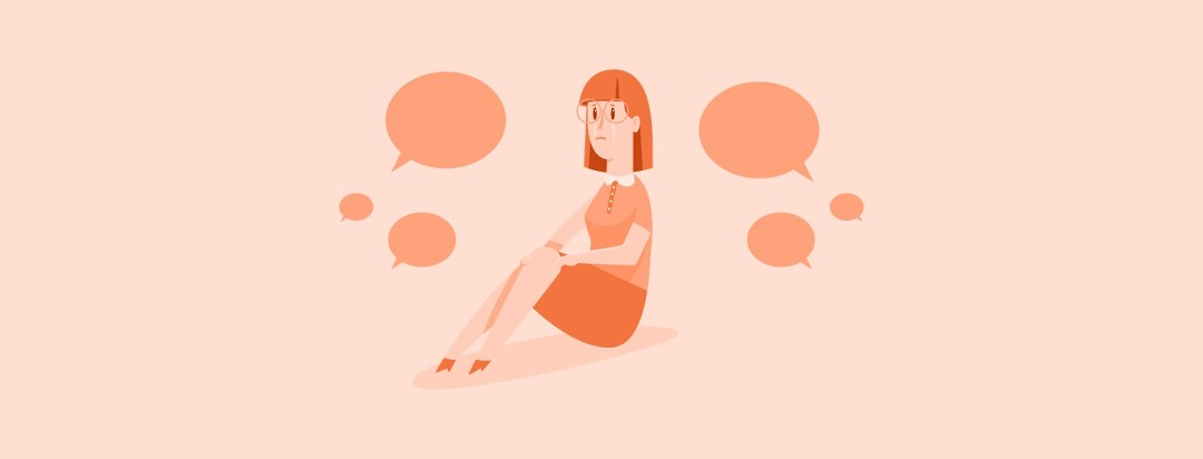 A woman cries as speech bubbles talk about her