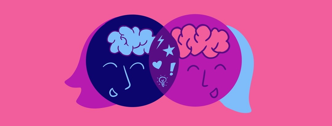 Two womens' heads act as a Venn Diagram - it shows that combining their brainpower helps them spark ideas