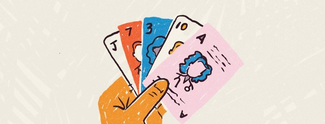 Person fanning out cards, each one with a different doctor's profile