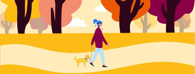 A woman wears a sweatband and sweats while walking her dog in the park