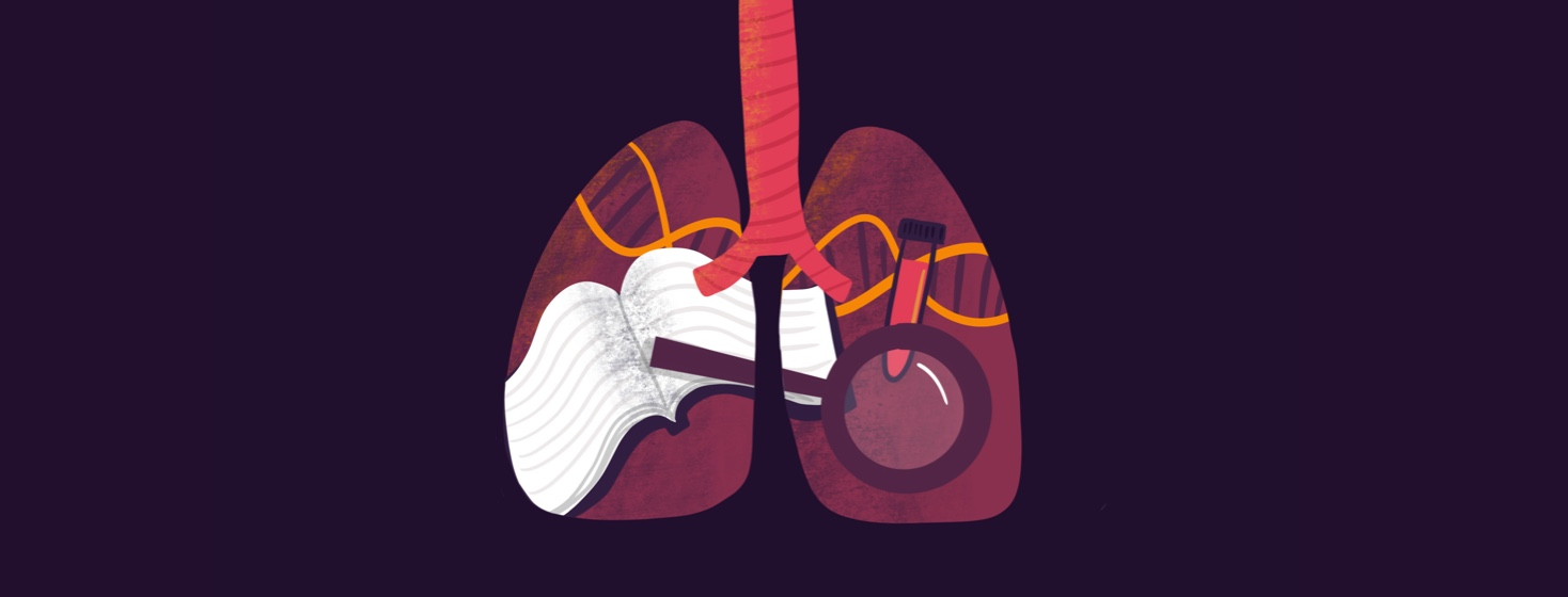 A book, a magnifying glass, a blood test tube and double helix are inside of a pair of lungs