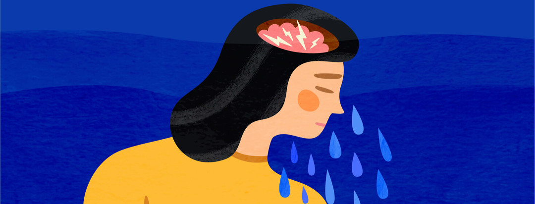 Depressed woman weeping with lightning bolts in her brain and rising water surrounding her