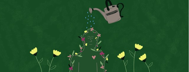 Outline of person covered in flowers being watered by watering can