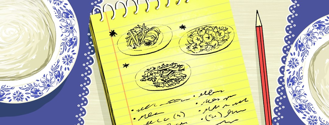 Notepad with drawn pictures of food and a list underneath
