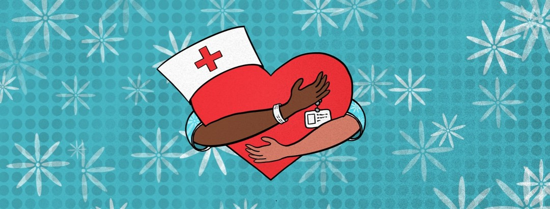 Arms with hospital gowns on hugging a heart with a nurse's hat and badge