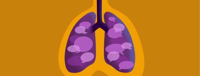 A pair of lungs contains the speech bubbles of many stories