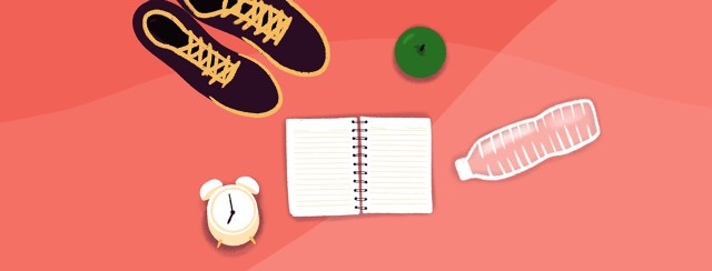 An alarm clock sits by a notebook, running shoes, water and an apple