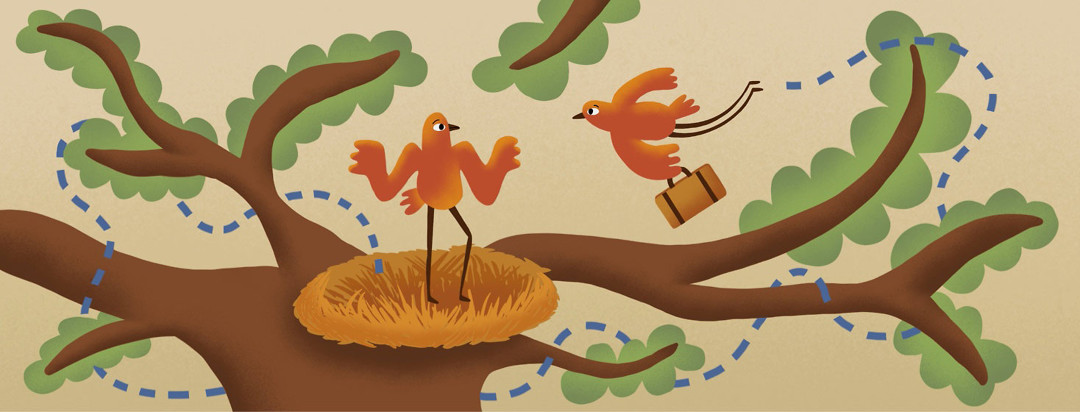 Path follows a baby bird leaving his nest in the tree, twisting and turning through the branches, and returning back to the nest with a bag in hand. The mother bird is standing in the nest, shrugging.