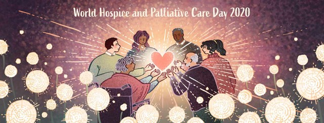 A diverse group of people hold a glowing heart together in honor of World Hospice and Palliative Care Day 2020.
