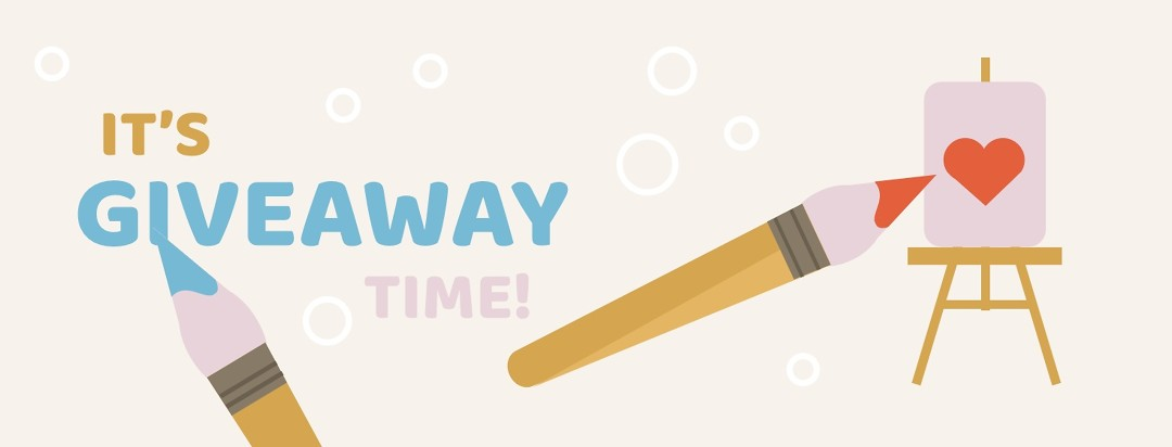 """Two paintbrushes and a canvas with a heart. Text says """"It's giveaway time"""""""