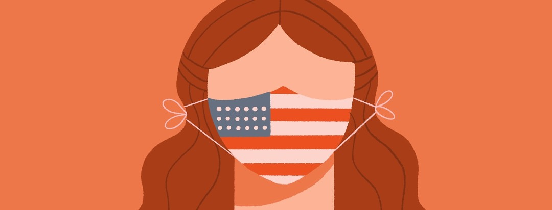 Woman wears cloth COVID mask with american flag on it