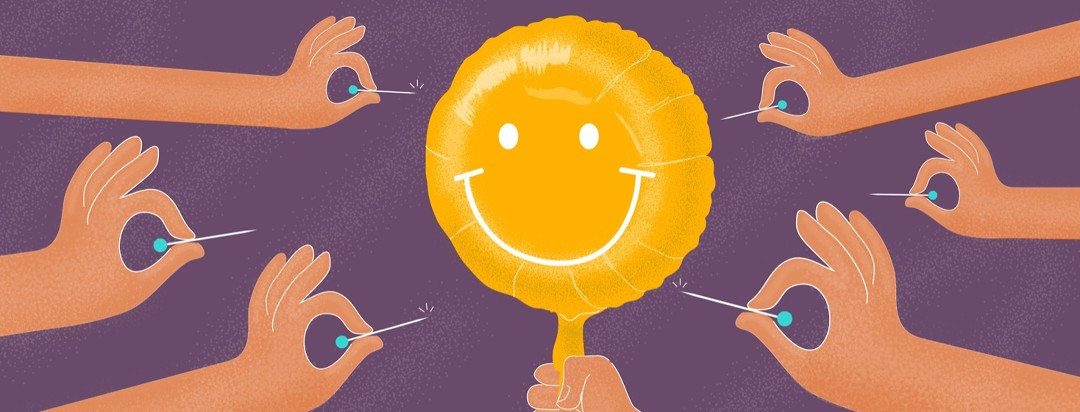 Many hands holding sharp pins surround a smiley face balloon.