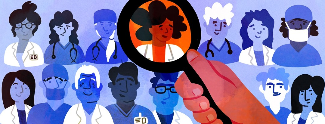 A person scans a magnifying glass over various pictures of doctors