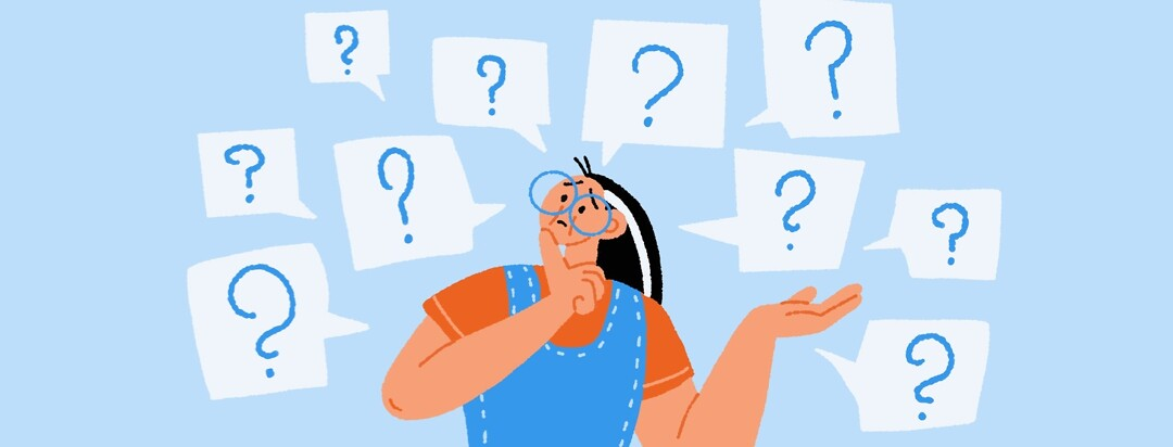 A confused woman surrounded by speech bubbles with question marks