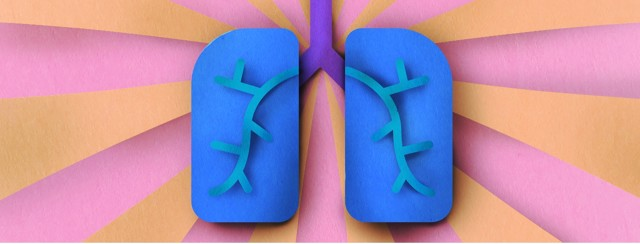 A pair of lungs with light radiating out from them
