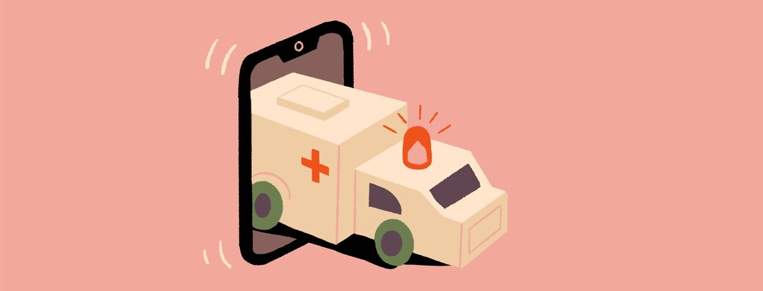 An ambulance comes driving out of a smartphone