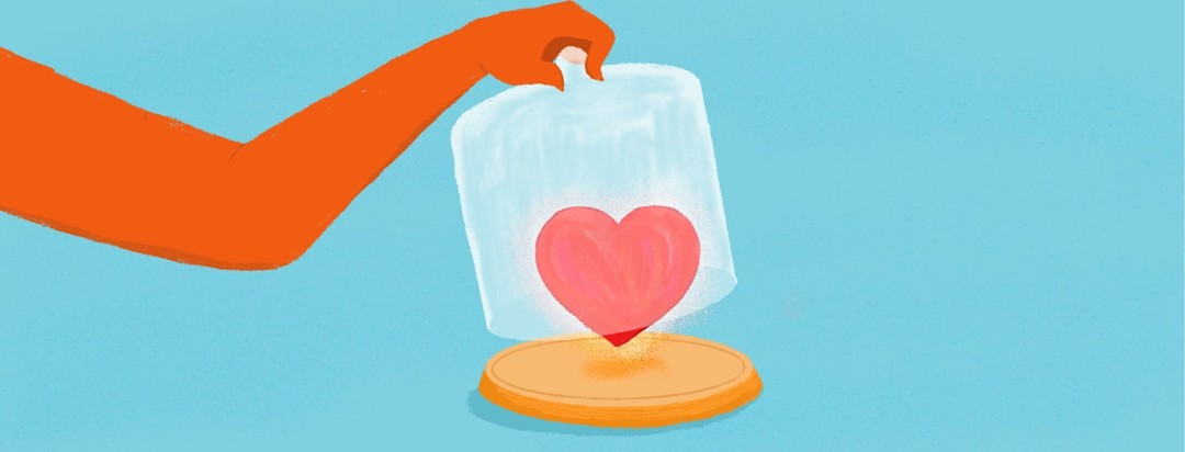 a heart being set free from a jar