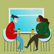 two people having coffee with a rainy window in the background