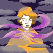 woman in the night with clouds and purple swirls