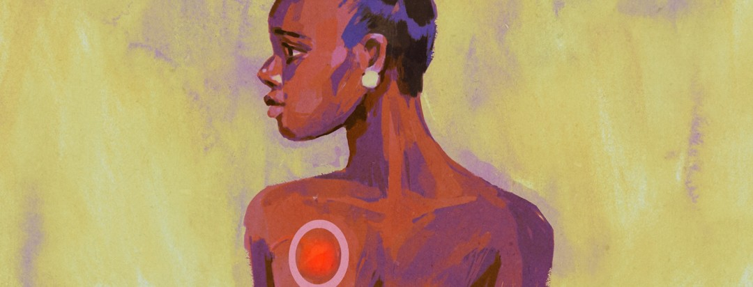 A Black woman with a port on her chest