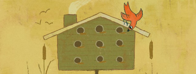 A bird looking into a large birdhouse with many rooms, all of the empty